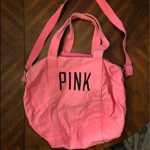 PINK denim duffel bag